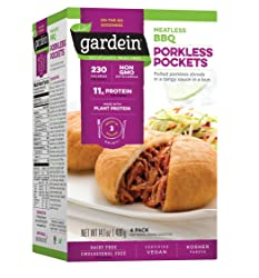 Gardein Meatless BBQ Pulled Pork Pockets, Meatless Protein Packed Meals, Ready in 3 Minutes, 4 Count