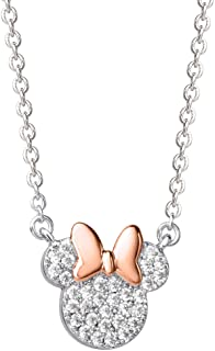 Minnie Mouse Pave Cubic Zirconia Pink and Silver Plated...