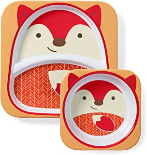 Skip Hop Zoo Melamine Plate and Bowl Set, Fox