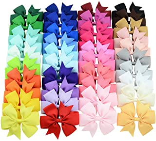 40pcs Different Colors 3 inch Grosgrain Ribbon Baby Girls Hair Bows Alligator Clips Hair Accessories for Infants Toddlers Kids Teens
