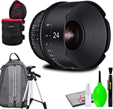 Rokinon Xeen 24mm T1.5 Lens for PL Mount Bundled with Protective Case, Padded Backpack, Tripod and Cleaning Kit
