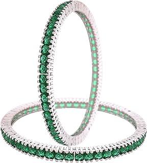 مجوهرات راتافالي تشيكوسلوفاكيا زركونيا لهجة الفضة البولندية الأخضر ساحة الماس أساور بوليوود سوار مجوهرات النساء