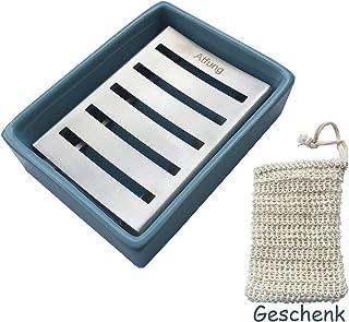 Blu Atfung Portasapone in acciaio inox Porta Sapone in Ceramica per Bagno e Doccia