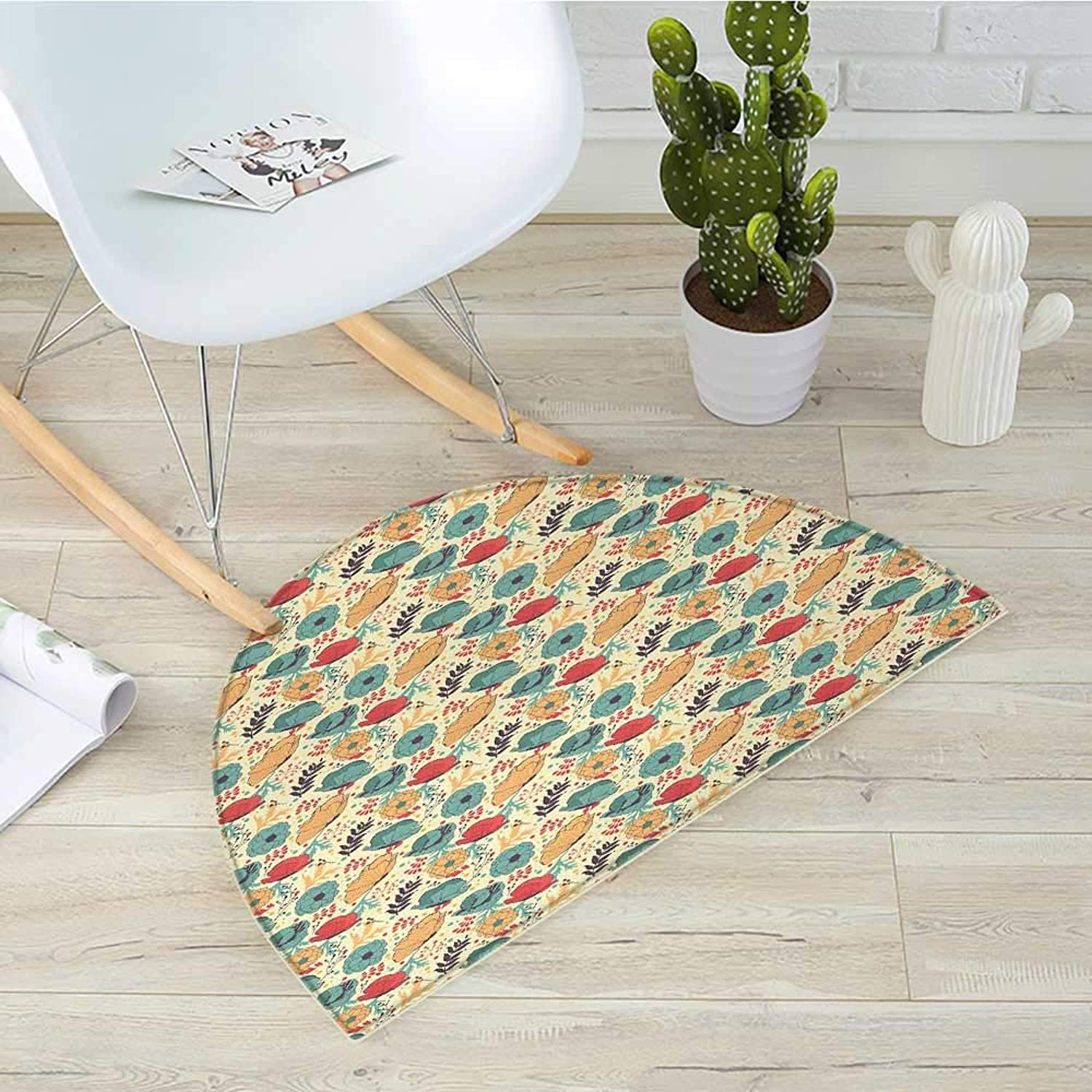 colorful Semicircle Doormat Blooming Summer Season Flowers in Doodle Drawing Style Illustration Foliage Leaves Halfmoon doormats H 31.5  xD 47.2  Multicolor