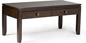 SIMPLIHOME Cosmopolitan SOLID WOOD 42 inch Wide Rectangle Contemporary Coffee Table in Mahogany Brown, for the Living Room and Family Room