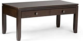 Simpli Home INT-AXCCOS-COFI-CF Cosmopolitan Solid Wood 42 inch Wide Rectangle Contemporary Coffee Table in Coffee Brown