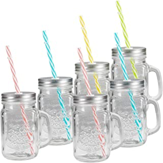 Tosnail 6 Pack 16 Oz. Mason Jar Mugs with Handle, Tin Lid and Plastic Straws - Old Fashion Drinking Glasses