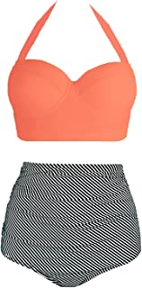 Amourri Womens Vintage Polka Underwire High Waisted Swimsuit Bathing Suits Bikini