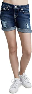 True Religion Women's Big T Mid Roll Super Stretch Distroyed Denim Jean Shorts w/Rips in Eclipse