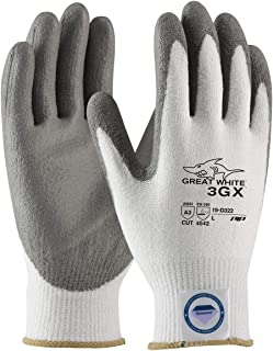 Protective Industrial Products Large White And Gray Great White 3GX Light wei Dyneema Diamond Blend Cut Resistant Glv With Knit Wrist And Polyurethane Coated Palm And Fingertips -72 Pair/Case