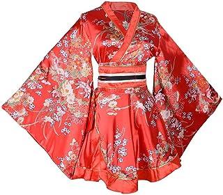 Women's Short Kimono Dress Floral Prints Japanese Geisha Costume Yukata Robe with OBI Belt