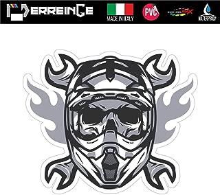 erreinge Sticker Teschio Biker Rider Motocicletta Adesivo Sagomato in PVC per Decalcomania Parete Murale Auto Moto Casco Camper Laptop cm 10