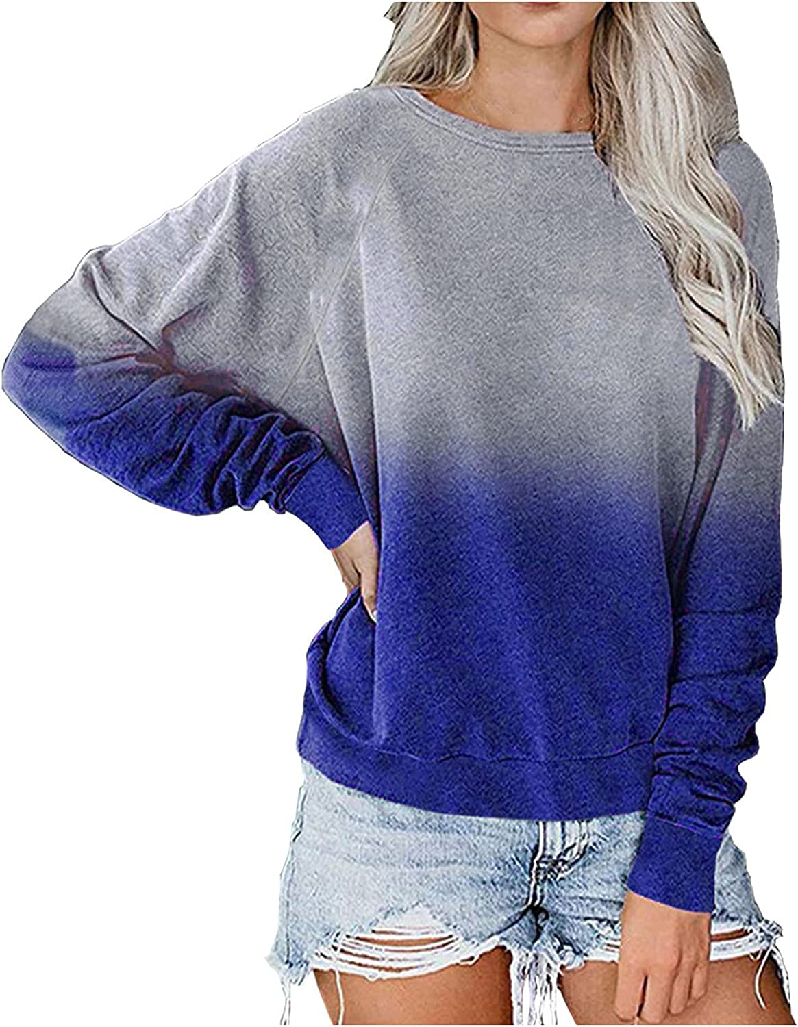 Loose Sweatshirts for Women, Women's Casual Crew Neck Long Sleeve Gradient Color-Block Pullover Blouse Tops