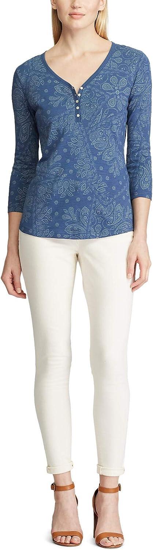 Chaps Albuquerque Mall Women's 3 4 Shirt Sleeve SALENEW very popular Crewneck Henley