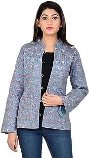 Jaipurtexilehub - Chamarra Reversible para Mujer, algodón, diseño Floral