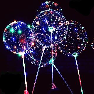 LED Light Up Bobo Balloons,8 Packs Flashing Handles,20 Inches Bubble Bobo Balloons,70 cm Sticks,Christmas Birthday Party D...