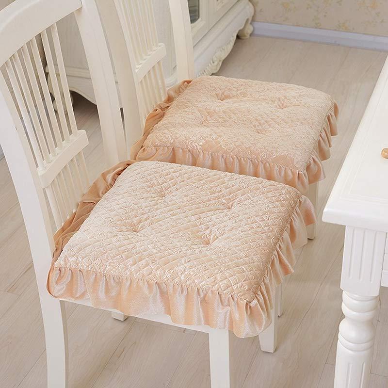 Super Soft Chair Cushion Dining Chair Pad Warmth Plush Stool Cushion Set Of 4 Light Yellow