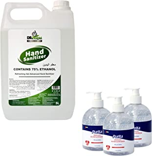 Dr. Neem 5 liters Hand Sanitizer, Refreshing Gel Advanced Hand Sanitizer, Contains 70% Ethanol, Rinse Free & Non-Sticky, w...