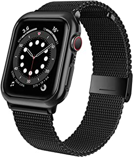 jwacct Stainless Steel Bands Compatible for Apple Watch 38mm 40mm 42mm 44mm, Adjustable Magnetic Metal Strap with Soft TPU...
