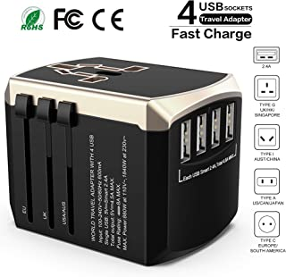 European Travel Pulg Adapter Luxsure All-in-one International Power Adapter Wall Charger Universal Travel Adapter with 4 USB Charging Ports for USA EU UK AUS Countries (Gold)