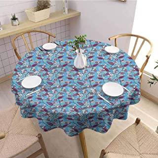 Luoiaax Floral Leakproof Polyester Round Tablecloth Japanese Summer Season Blooms on Tree Branches Vibrant Fresh Leaves Outdoor and Indoor use D43 Inch Round Dark Purple Army Green Blue