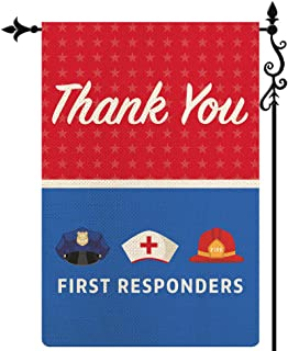 Coskaka Thank You First Responders Garden Flag, Heroes Police Law Doctor Fire Officers Vertical Double Sided Red Blue Rust...