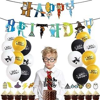 Mago Cumpleaños Fiesta Decoracion Temática Corbata Gafas Banner de Feliz Cumpleaños Mago Globo Halloween fiestas Suministr...