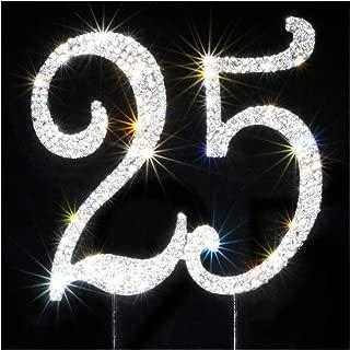 25 Cake Topper   Premium Bling Crystal Rhinestone Diamond Gems   Birthday or Anniversary Party Decoration Ideas   Quality Metal Alloy   Perfect Keepsake … (25 sliver)