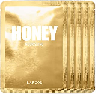 LAPCOS Honey Sheet Mask, Daily Face Mask with Hyaluronic Acid and Antioxidants to Hydrate and Tighten Dry Skin, Korean Beauty Favorite, 5-Pack