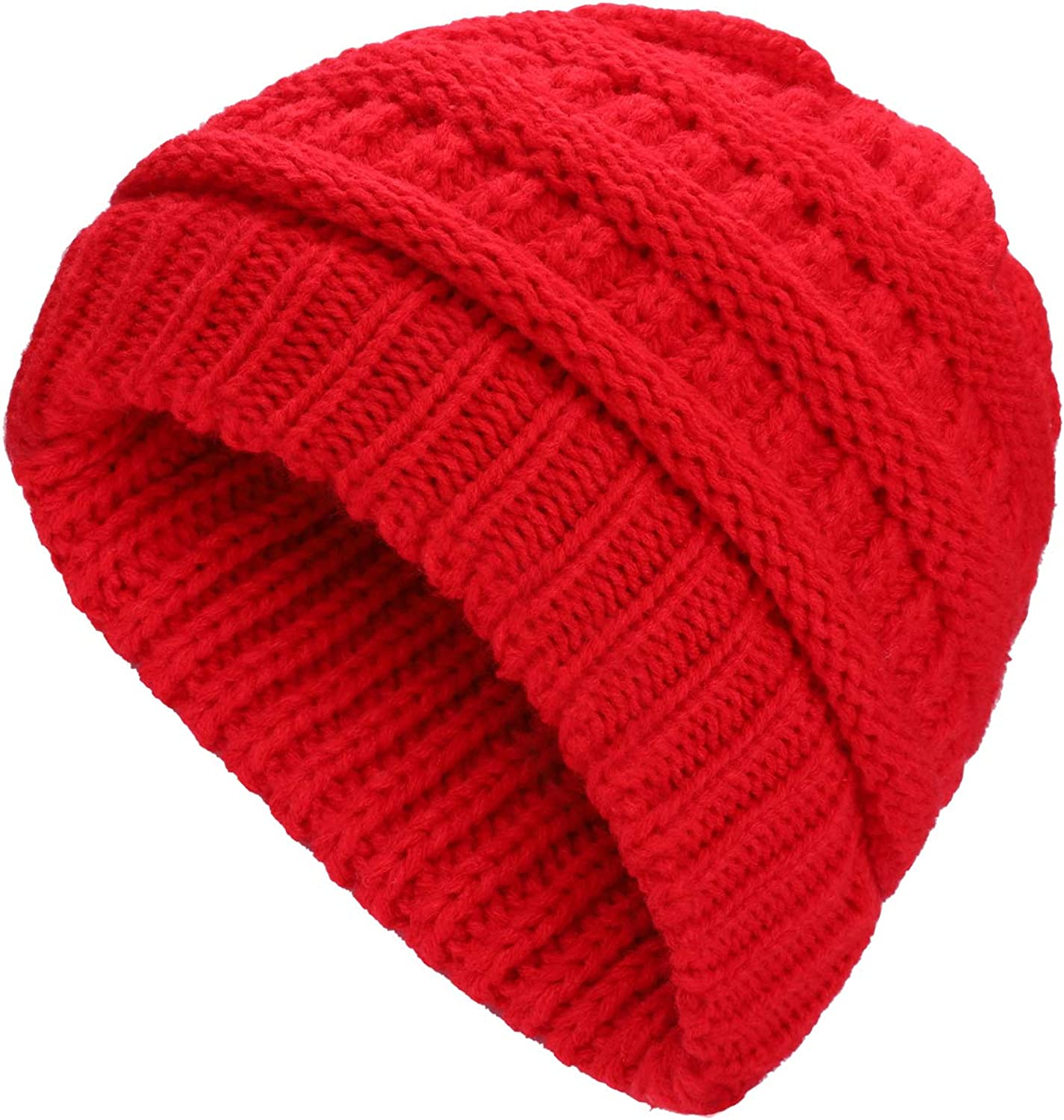 Toosell Winter Daily Warm Casual Ponytail Hats Women Messy Bun Skull Knitted Beanie Fleece Fur Lining Cap