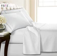 FBTS Basic Bed Sheets Set 4 Piece, 1800 Series Hypoallergenic Egyptian Luxury Bedding Sets Microfiber Soft Bedsheets Queen White 43234-234