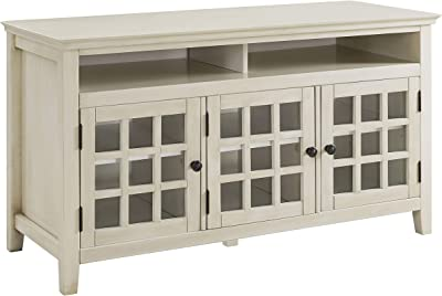 Benjara Three Door Wooden Media Cabinet with Two Open Shelves, White