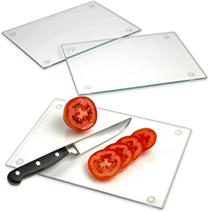 "Tempered Glass Cutting Board - Long Lasting Clear Glass - Scratch Resistant, Heat Resistant, Shatter Resistant, Dishwasher Safe. (3 Rectangle 10x7"")"