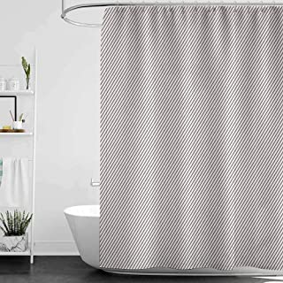 Shower Curtains White Ruffle Retro,Diagonally Narrow Stripes Geometrical Classical Inspired Lines Pattern Simple Print, Cocoa White W48 x L72,Shower Curtain for Men