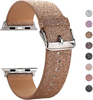 Moonooda Replacement for iWatch Band, Glitter 42mm 44mm Women Watch Strap Sparkling Compatible with Apple Watch Series 5 Series 4 Series 3 Series 2 Series 1 Sport and Edition, Rose Gold