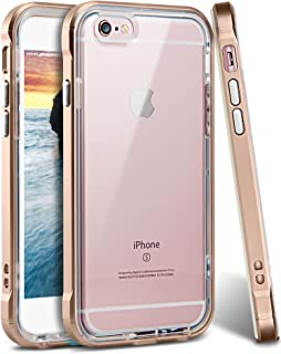 iPhone 6s Plus Case, Ansiwee Reinforced Frame Crystal Highly Durable Shock-Absorption Flexible Soft Rubber TPU Bumper Hybrid Protective Case for Apple iPhone 6s/6 Plus 5.5inch (Gold)