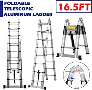 Telescopic A-Frame Extension Ladder 16.5ft Folding Aluminum Steps with Safety Locking Mechanism Support Bar Heavy Duty 330lb Load Capacity