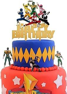 Acrylic Power Rangers Happy Birthday Cake Topper, Power Rangers Cake Topper, Boys and Girls Birthday Party Supplies, Super...