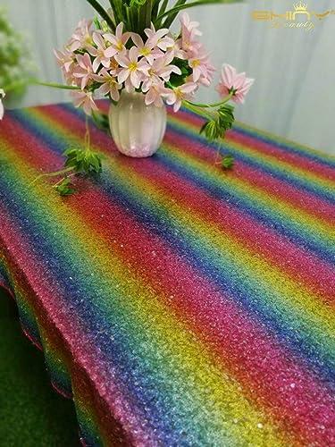 grandes precios de descuento ShinyBeauty CT0516 - Mantel Rectangular de de de Lentejuelas, 228,6 x 228,6 cm, Diseño de arcoíris  distribución global