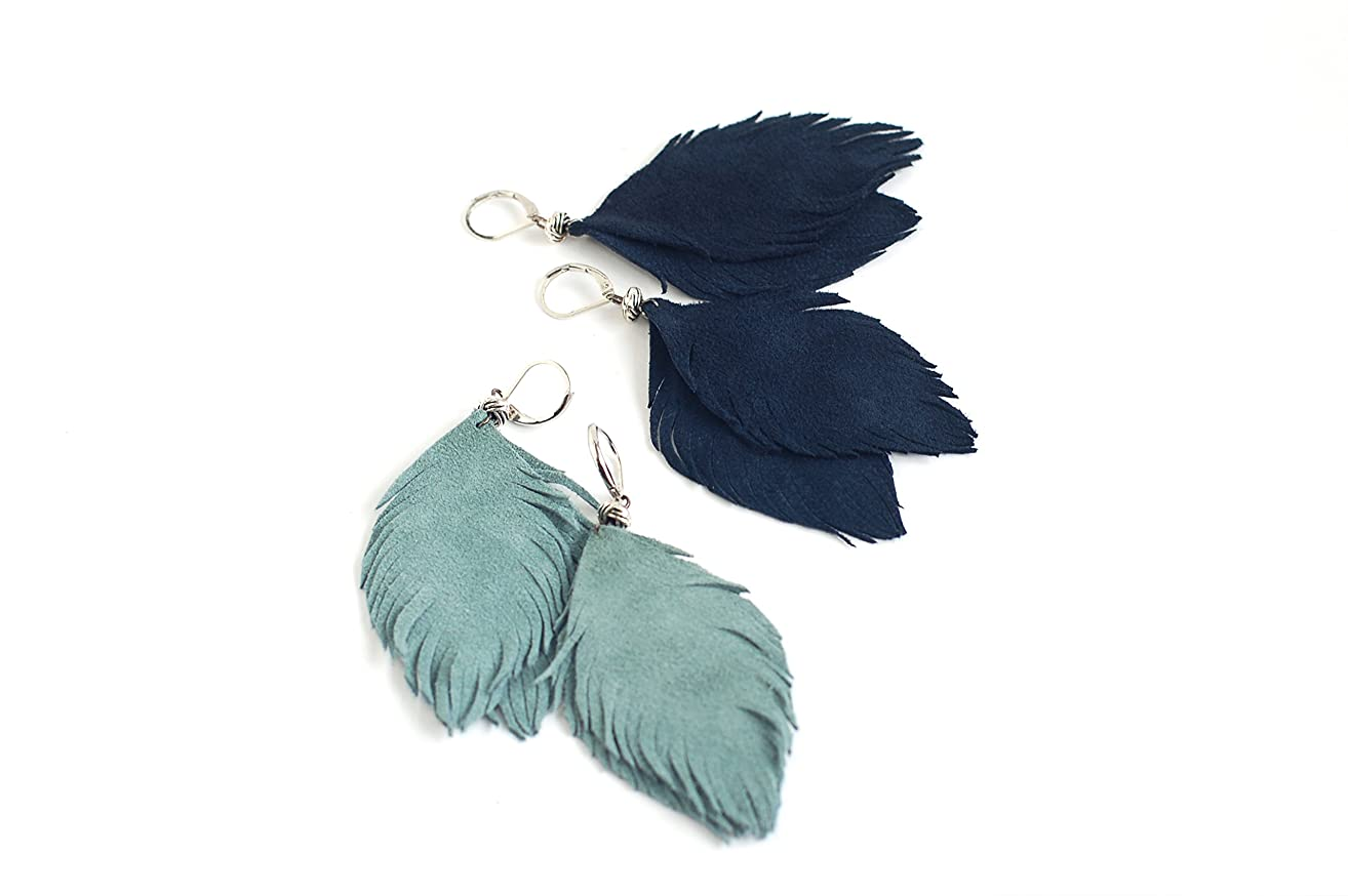 Set of two pairs feather earrings from suede leather in smoky blue and navy blue.