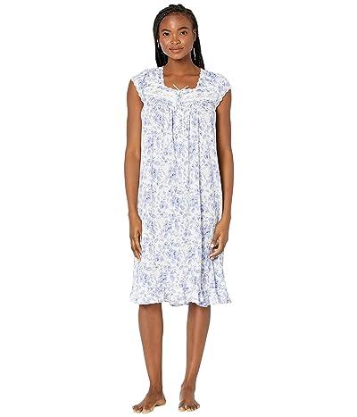 Eileen West Cotton Modal Waltz Gown (Blue/Rose Floral) Women