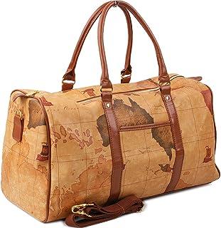 Copi World Map Large Duffle Bag Travel Tote Luggage Boston Style