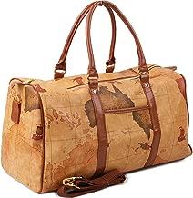 Copi World Map Large Duffle Bag Travel Tote Luggage Boston Style Camel