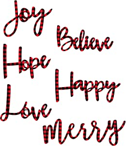 6 Pieces Christmas Buffalo Plaid Wooden Signs Believe Happy Joy Merry Hope Love Wooden Sign Home Decor Ornaments for Indoor Outdoor Home Front Door Christmas Home Table Decoration (Red and Black)