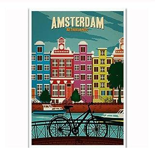 Vscdye Amsterdam Pays-Bas Voyage Paysage Tourisme Affiche Art Toile Maison Chambre Impression Murale décor HD Art Affiche ...