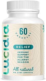 Lucidia Natural Allergy Medicine with Quercetin, Organic Stinging Nettle, Bromelain, Organic Reishi Mushroom & N-Acetyl Cysteine. Natural Antihistamine & Immune Support Formula. 60ct.