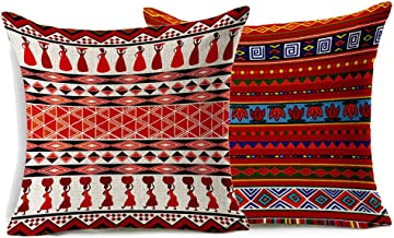 VOGOL 2-Pack Cotton Linen Sofa Home Decor Design Throw Pillow Case Cushion Covers Square 18 Inch, Set of 2 Ethnic African Style Series