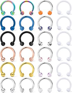 Lcolyoli 24Pcs 16G Surgical Steel Nose Septum Rings Piercing Jewelry Externally Threaded Cartilage Helix Tragus Earring Hoop Lip Horseshoe Retainer for Women Men 8mm 10mm