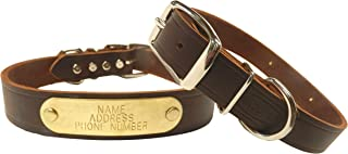 Warner Cumberland Leather Dog Collar + Free Engraved Brass ID tag