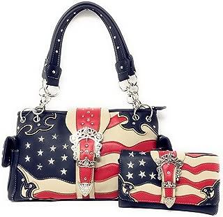 American Flag Rhinestone Women Leather Concealed Handbags Purse Wallet Set In Multi Colors. (Beige)